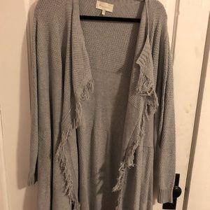 Grey fringe cardigan